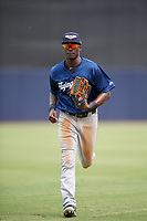 Lakeland Flying Tigers center fielder Daz Cameron (25) jogs off the field during a game against the Tampa Tarpons on April 8, 2018 at George M. Steinbrenner Field in Tampa, Florida.  Lakeland defeated Tampa 3-1.  (Mike Janes/Four Seam Images)