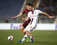 Football Soccer: Europa League Round of 16 second leg, Roma-Lyon, stadio Olimpico, Roma, Italy, March 16,  2017. <br /> Lyon's Jérémy Morel (r) in action with Roma's Stephan El Shaarawy (l) during the Europe League football soccer match between Roma and Lyon at the Olympique stadium, March 16,  2017. <br /> Despite losing 2-1, Lyon reach the quarter finals for 5-4 aggregate win.<br /> UPDATE IMAGES PRESS/Isabella Bonotto