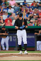 Kane County Cougars third baseman Ryan Grotjohn (33) at bat during a game against the South Bend Cubs on July 21, 2018 at Northwestern Medicine Field in Geneva, Illinois.  South Bend defeated Kane County 4-2.  (Mike Janes/Four Seam Images)