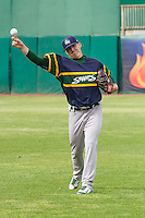 Beloit Snappers pitcher Heath Fillmyer (26) warms up prior to a Midwest League game against the Wisconsin Timber Rattlers on May 30th, 2015 at Fox Cities Stadium in Appleton, Wisconsin. Wisconsin defeated Beloit 5-3 in the completion of a game originally started on May 29th before being suspended by rain with the score tied 3-3 in the sixth inning. (Brad Krause/Four Seam Images)