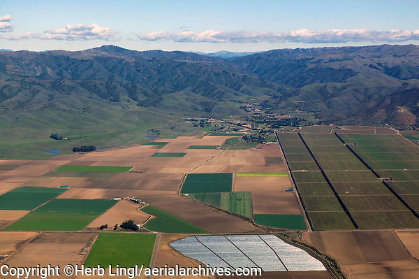aerial photograph of farmland and greenhouses in the Salinas Valley, Monterey, California