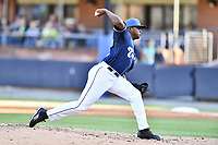 Asheville Tourists pitcher Raymells Rosa (21) delivers a pitch during a game against the Lakewood BlueClaws at McCormick Field on June 13, 2019 in Asheville, North Carolina. The BlueClaws defeated the Tourists 4-3. (Tony Farlow/Four Seam Images)
