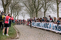 Tiffany Cromwell at the fornt of the Peloton on the Paddestraat during the 16th Ronde Van Vlaanderen<br /> <br /> Elite Womans Race (1.WWT)<br /> <br /> One day race from Oudenaarde to Oudenaarde<br /> ©Jojo Harper for Kramon