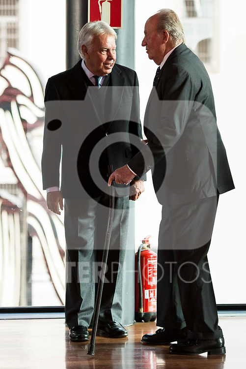 Felipe Gonzalez and King Juan Carlos attends to the act of imposition of the great cross of the civil order of Alfonso X el Sabio to D. Francisco Luzon Lopez at Reina Sofia Museum in Madrid. March 13, 2017. (ALTERPHOTOS/Borja B.Hojas)