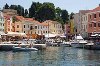 The colourful harbour in Veli Losinj, island of Losinj in the Kvarner region, Croatia, Adriatic, Europe