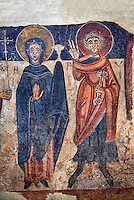 Romanesque frescoes of the Virgin Mary and Peter from the church of Sant Roma de les Bons, painted around 1164, Encamp, Andorra. National Art Museum of Catalonia, Barcelona. MNAC 15783