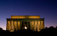 Washington D.C. at night of the Lincoln Memorial with pillars at night in USA