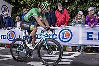 green jersey wearer Michael Matthew (AUS/BikeExchange) up the Mûr-de-Bretagne finish climb<br /> <br /> Stage 2 from Perros-Guirec to Mûr-d-Bretagne, Guerlédan (184km)<br /> 108th Tour de France 2021 (2.UWT)