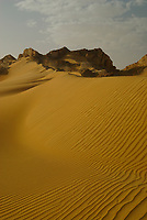 Top of a yellow sand dune in the Western Desert of Egypt. The desert covers about 700,000 square kilometers. It is equivalent in size to Texas in United States and accounts for about two-thirds of Egypt's land area. This immense desert to the west of the Nile spans the area from the Mediterranean Sea south to the Sudanese border. The desert's Jilf al Kabir Plateau has an altitude of about 1,000 meters, an exception to the uninterrupted territory of basement rocks covered by layers of horizontally bedded sediments forming a massive plain or low plateau. The Great Sand Sea lies within the desert's plain and extends from the Siwah Oasis to Jilf al Kabir. Scarps (ridges) and deep depressions (basins) exist in several parts of the Western Desert, and no rivers or streams drain into or out of the area.