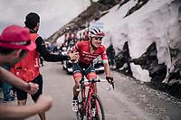 Gianluca Brambilla (ITA/Trek-Segafredo) handed a bidon and a newspaper (for teh descent) up the gravel roads of the Colle delle Finestre <br /> <br /> stage 19: Venaria Reale - Bardonecchia (184km)<br /> 101th Giro d'Italia 2018