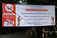 Fire Drill evacuation demonstration<br />  notice in Bangkok, Thailand, November 2019