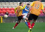 Partick Thistle v St Johnstone....25.10.14   SPFL<br /> James McFadden's shot is blocked by Conrad Balatoni<br /> Picture by Graeme Hart.<br /> Copyright Perthshire Picture Agency<br /> Tel: 01738 623350  Mobile: 07990 594431