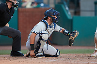 Hudson Valley Renegades catcher Austin Wells (10) sets a target during the game against the Greensboro Grasshoppers at First National Bank Field on September 2, 2021 in Greensboro, North Carolina. (Brian Westerholt/Four Seam Images)