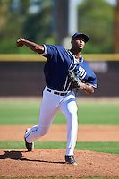 San Diego Padres pitcher Dauris Valdez (93) during an Instructional League game against the Texas Rangers on October 3, 2016 at the Peoria Sports Complex in Peoria, Arizona.  (Mike Janes/Four Seam Images)