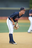 Virginia Cavaliers third baseman Justin Novak (18) on defense against the Wake Forest Demon Deacons at David F. Couch Ballpark on May 19, 2018 in  Winston-Salem, North Carolina. The Demon Deacons defeated the Cavaliers 18-12. (Brian Westerholt/Four Seam Images)