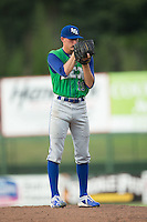 Lexington Legends starting pitcher A.J. Puckett (19) looks to his catcher for the sign against the Kannapolis Intimidators at Kannapolis Intimidators Stadium on July 14, 2016 in Kannapolis, North Carolina.  The Kannapolis Intimidators defeated the Lexington Legends 4-2.  (Brian Westerholt/Four Seam Images)