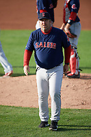 Salem Red Sox manager Joe Oliver (50) during the first game of a doubleheader against the Potomac Nationals on May 13, 2017 at G. Richard Pfitzner Stadium in Woodbridge, Virginia.  Potomac defeated Salem 6-0.  (Mike Janes/Four Seam Images)
