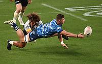 3rd April 2021; Eden Park, Auckland, New Zealand;  Dalton Papalii in action for the Blues. Blues v Hurricanes Super Rugby Aotearoa. Eden Park, Auckland. New Zealand.