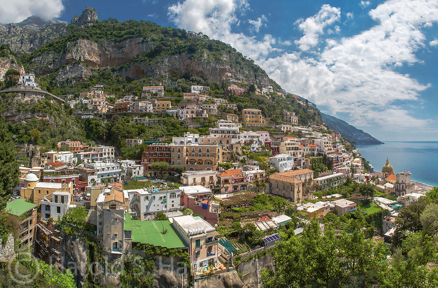 Positano along the treacherous Amalfi Coast road is a scenic seaside fishing village, now primarily a tourist town.