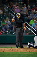 Umpire Richard Riley calls a strike during an International League game between the Scranton/Wilkes-Barre RailRiders and Rochester Red Wings on June 24, 2019 at Frontier Field in Rochester, New York.  Rochester defeated Scranton 8-6.  (Mike Janes/Four Seam Images)
