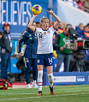 HARRISON, NJ - MARCH 08: Emily Sonnett #14 of the United States throws in a ball during a game between Spain and USWNT at Red Bull Arena on March 08, 2020 in Harrison, New Jersey.