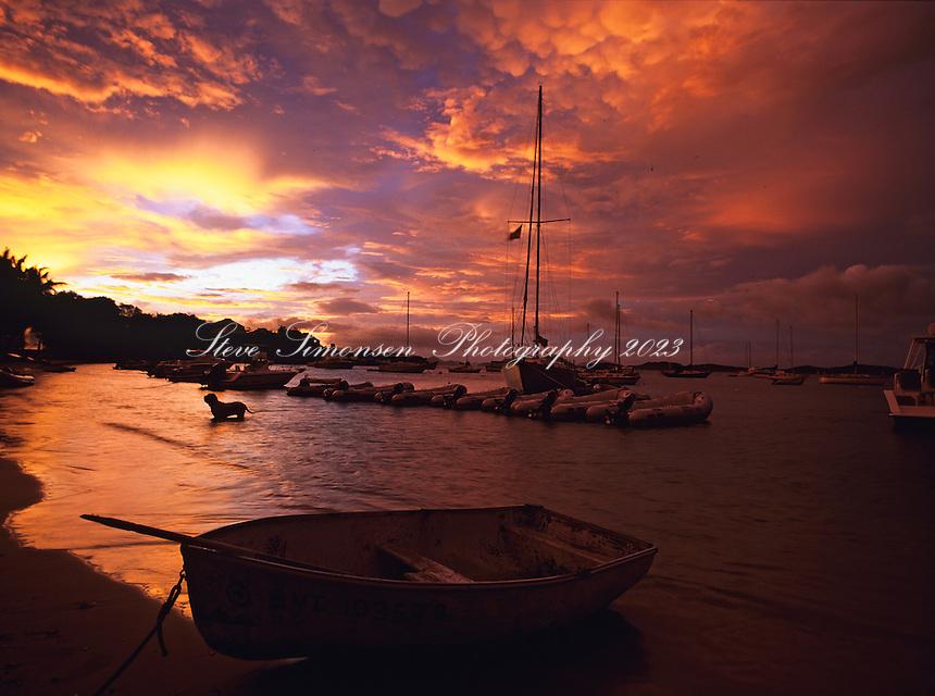 Sunset from Cruz Bay with boats<br /> St. John<br /> U.S. Virgin Islands