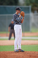 Aidan Moza (18) during the WWBA World Championship at the Roger Dean Complex on October 12, 2019 in Jupiter, Florida.  Aidan Moza attends North Cobb Christian High School in Dallas, GA and is committed to UAB.  (Mike Janes/Four Seam Images)