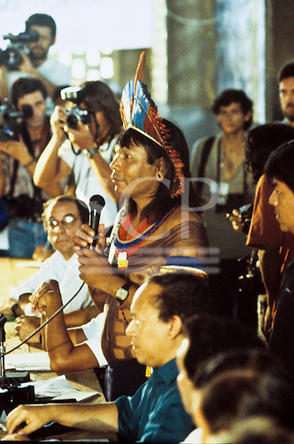 Altamira, Brazil. Protest against the proposed Kararao (later Belo Monte) hydroelectric dam staged by the Kayapo and other tribal Indian groups. The protest weas successful in persuading the World Bank to withdraw finance for the project. Paulinho Payakan (Bep Koroti Kayapo), the principal proponent of the protest.