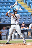 Charleston RiverDogs first baseman Chris Gittens (34) awaits a pitch during game one of a double header against the Asheville Tourists at McCormick Field on July 8, 2016 in Asheville, North Carolina. The RiverDogs defeated the Tourists 10-4 in game one. (Tony Farlow/Four Seam Images)