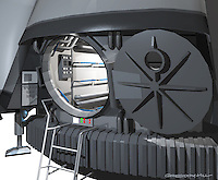 This is the exterior of the Europa Lander with Airlock Door open. This was important because this section of the ship became a practical set on stage.