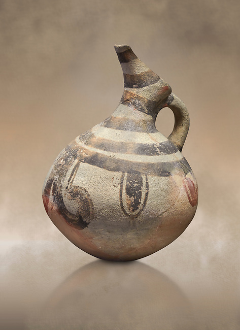 Cycladic beak spouted jug with 'melian' painted motifs.  Early Cycladic III (2300-2000 BC) , Phylakopi I, Melos. National Archaeological Museum Athens. Cat No 5725-6.