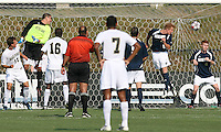 04 September 2009: Andrew Quinn #0 of the University of Notre Dame and Kyle Adams #16 of Wake Forest University watch the ball cross the goalmouth during an Adidas Soccer Classic match at the University of Indiana in Bloomington, In. The game ended in a 1-1 tie..