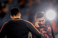 FC Barcelona Luis Suarez, left, and Lionel Messi warm up before the Uefa Champions League quarter final second leg football match between AS Roma and FC Barcelona at Rome's Olympic stadium, April 10, 2018.<br /> UPDATE IMAGES PRESS/Riccardo De Luca