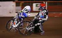 Heat 1 - Andreas Jonsson (red) and Davey Watt (white) - Lakeside Hammers v Rico's All Stars, The Rico Spring Classic at the Arena Essex Raceway, Pufleet - 20/03/15 - MANDATORY CREDIT: Rob Newell/TGSPHOTO - Self billing applies where appropriate - 0845 094 6026 - contact@tgsphoto.co.uk - NO UNPAID USE