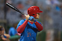 Clearwater Threshers Ben Pelletier (19) on deck during a game against the Dunedin Blue Jays on May 18, 2021 at BayCare Ballpark in Clearwater, Florida.  (Mike Janes/Four Seam Images)