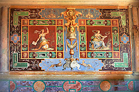 """Room of The Nobility (Stanza della Nobilta). The Renaissance paintings by Federico Zuccari can be dated to 1566-67. Decorated with Trompe-l'?il Ionian Pillars & busts the figures in the panels depict """"Virtue"""" and """"Thee Liberal Arts"""". Villa d'Este, Tivoli, Italy. A UNESCO World Heritage Site."""