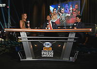 LAS VEGAS, NV - AUG 18: Kate Abdo, Shawn Porter and Manny Pacquiao at a press conference at the MGM Grand Garden Arena on August 18, 2021 for their upcoming Fox Sports PBC pay-per-view fight in Las Vegas, Nevada. Pacquiao vs Ugas pay-per-view will be on August 21 at T-Mobile Arena in Las Vegas. (Photo by Scott Kirkland/Fox Sports/PictureGroup)