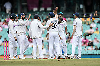8th January 2021; Sydney Cricket Ground, Sydney, New South Wales, Australia; International Test Cricket, Third Test Day Two, Australia versus India; teammates congratulate Jasprit Bumrah on taking the catch to dismiss Matthew Wade of Australia