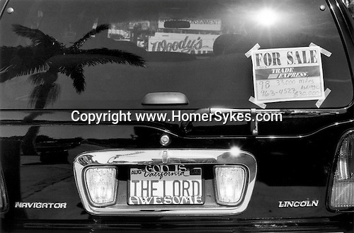 A Lincoln Navigator with bumper sticker God is California The Lord Awesome, is for sale. Santa Barbara California USA 2001 .