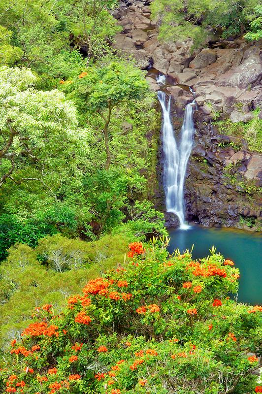 Puohokamoa Falls & pool. Garden of Eden Botanical Gardens. Maui. Hawaii