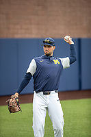 Michigan Wolverines pitcher Ben Dragani (21) warms up before the NCAA baseball game against the Michigan State Spartans on May 7, 2019 at Ray Fisher Stadium in Ann Arbor, Michigan. Michigan defeated Michigan State 7-0. (Andrew Woolley/Four Seam Images)