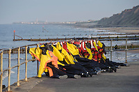 Clothing from a lifeboat crew drying in the sun, Mundesley, Norfolk.