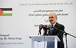 Palestinian Prime Minister Mohammed Ishtayeh attends the foundation stone laying ceremony for the Heritage Products Development Center, in the West Bank city of Ramallah on September 7, 2021. Photo by Prime Minister Office