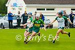 Kerry Camogie Minor B Championship v Meath playen Crotta O'Neils Club on Sunday last. Kerry captain Amy O'Sullivan wins the ball ahead of Meath's Ava Fraughan & Emma Regan.