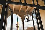 Naher Osten, Mittelmeer, Israel, Galilea, Akko, Akkon, Acre, St. Jean d'Acre, Efendi Hotel, Design, Balkon mit Blick auf Minarett, 3/2014<br />Engl.: Near East, Mediterranean Sea, Israel, Galilee, Akko, Akkon, Acre, St. Jean d'Acre, Efendi Hotel, Design, balcony with view of minaret, 3/2014