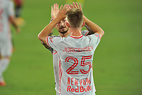 WASHINGTON, DC - SEPTEMBER 12: Daniel Royer #77 of New York Red Bulls celebrates his score with teammate Mathias Jorgensen #25 of New York Red Bulls during a game between New York Red Bulls and D.C. United at Audi Field on September 12, 2020 in Washington, DC.