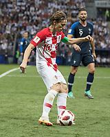 Moscow, Russia- July 15, 2018: Luzhniki Stadium, France vs Croatia, finals of the 2018 FIFA World Cup.  Final score France 4, Croatia 2.