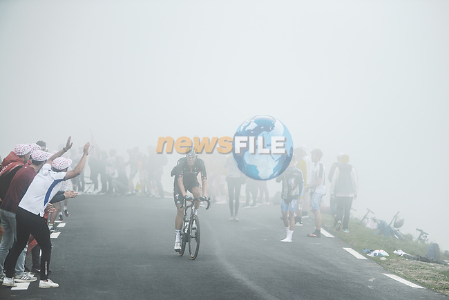 Nils Politt (GER) Bora-Hansgrohe climbs Col du Tourmalet in the mist during Stage 18 of the 2021 Tour de France, running 129.7km from Pau to Luz Ardiden, France. 15th July 2021.  <br /> Picture: A.S.O./Pauline Ballet | Cyclefile<br /> <br /> All photos usage must carry mandatory copyright credit (© Cyclefile | A.S.O./Pauline Ballet)