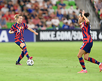 AUSTIN, TX - JUNE 16: Emily Sonnett #14 of the United States looks to pass the ball during a game between Nigeria and USWNT at Q2 Stadium on June 16, 2021 in Austin, Texas.