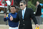 HOT SPRINGS, AR - MARCH 19: Winning jockey Martin Garcia and co-trainer Jimmy Barns showing a thumbs up after winning the Rebel Stakes at Oaklawn Park on March 19, 2016 in Hot Springs, Arkansas. (Photo by Justin Manning/Eclipse Sportswire/Getty Images)